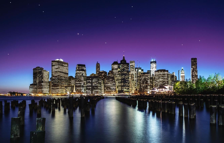 Фото обои небо, звезды, город, New York