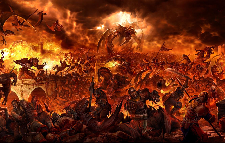 Фото обои фентези, люди, замок, огонь, драконы, монстры, битва