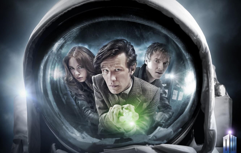 Фото обои взгляд, девушка, отражение, актриса, лица, актер, мужчина, сериал, пиджак, Doctor Who, астронавт, Доктор Кто, тардис, ...