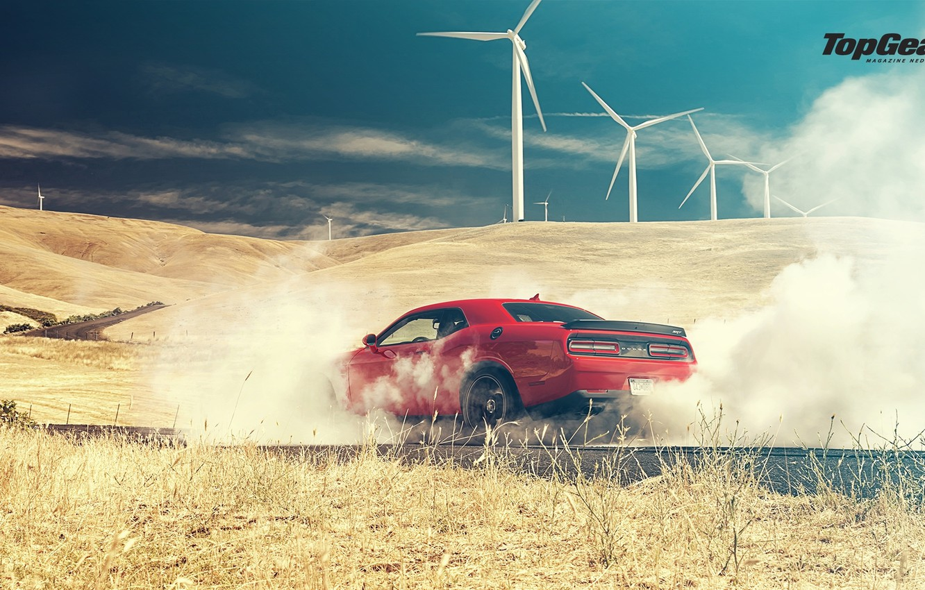 Фото обои Top Gear, Dodge, Challenger, Red, Smoke, Hellcat, SRT, Rear, 2015