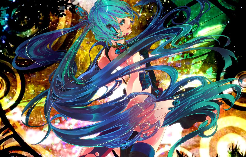 Фото обои девушка, аниме, наушники, арт, Hatsune Miku, Vocaloid, Вокалоид, rathke