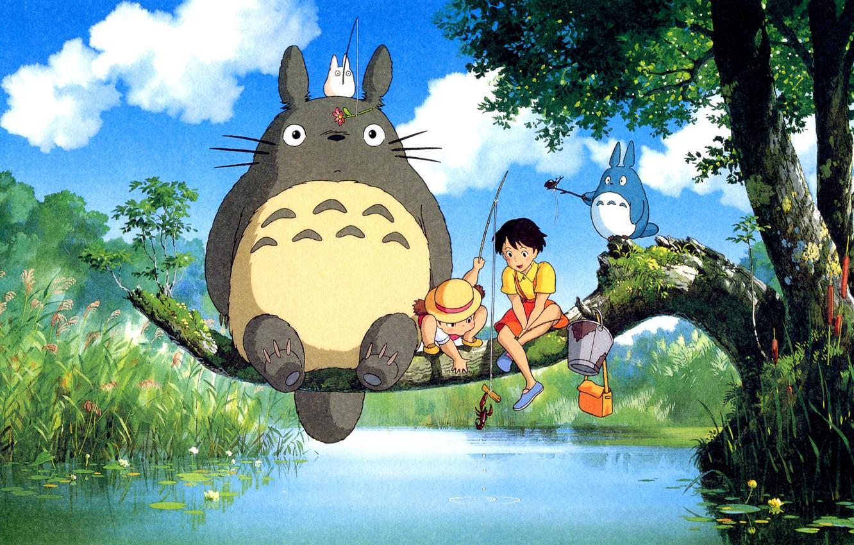 Фото обои река, дерево, Тоторо, мой сосед тоторо, ghibli, хаяо миядзаки, Totoro, Satsuki Kusakabe, Сацуки Кусакабэ, удочки, …