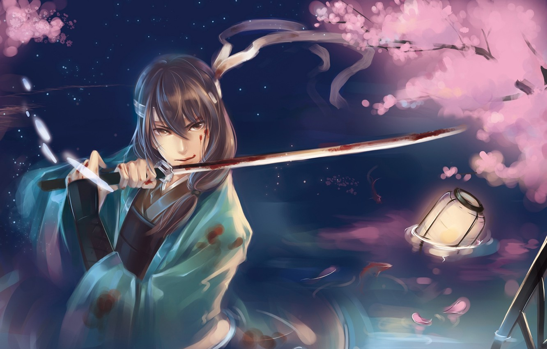 Фото обои вода, рыбы, кровь, меч, катана, лепестки, сакура, арт, самурай, фонарь, парень, raku kaki, gintama, katsura …