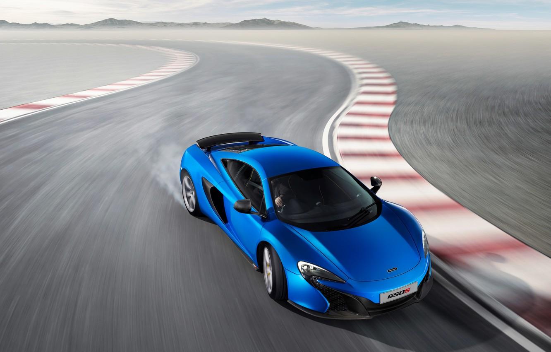 Фото обои McLaren, Поворот, Занос, Blue, Coupe, Суперкар, Supercar, 2014, 650S