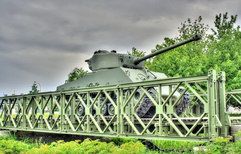 Фото обои мост, войны, танк, бронетехника, средний, M4 Sherman, периода, мировой, Второй, «Шерман»