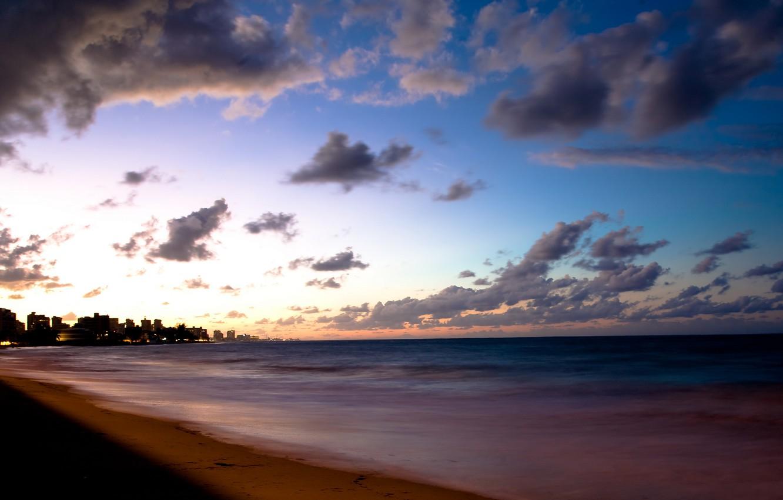 Фото обои море, облака, берег, вечер