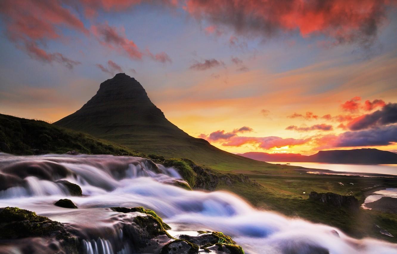 Фото обои облака, река, рассвет, гора, водопад, утро, Исландия, Iceland, Kirkjufel