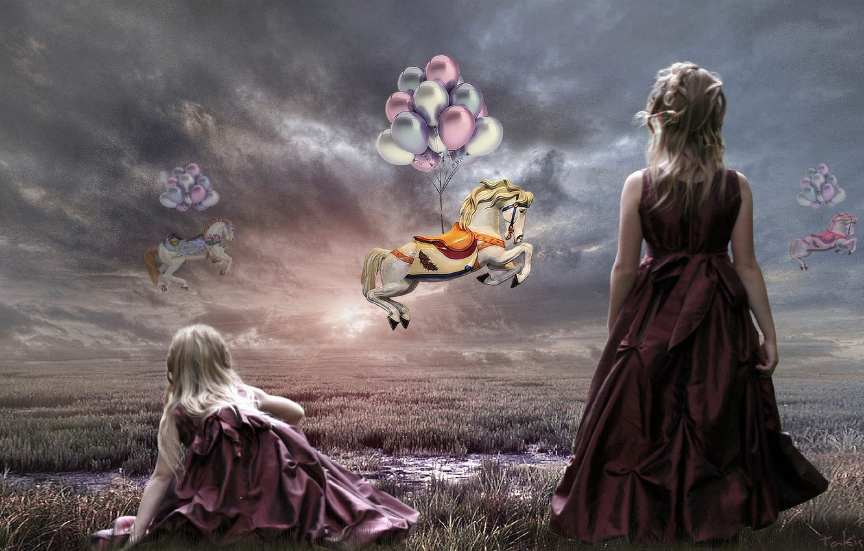 Фото обои небо, шарики, кони, арт, девочка, Takis Poseidon