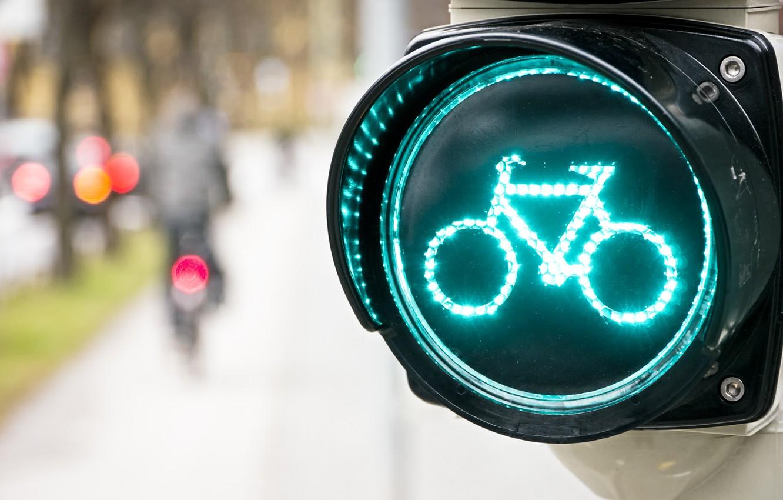 Обои разное, дорожный знак, размытие, Светофор, велосипед. Разное foto 6