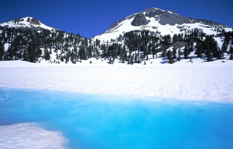 Фото обои зима, горы, река