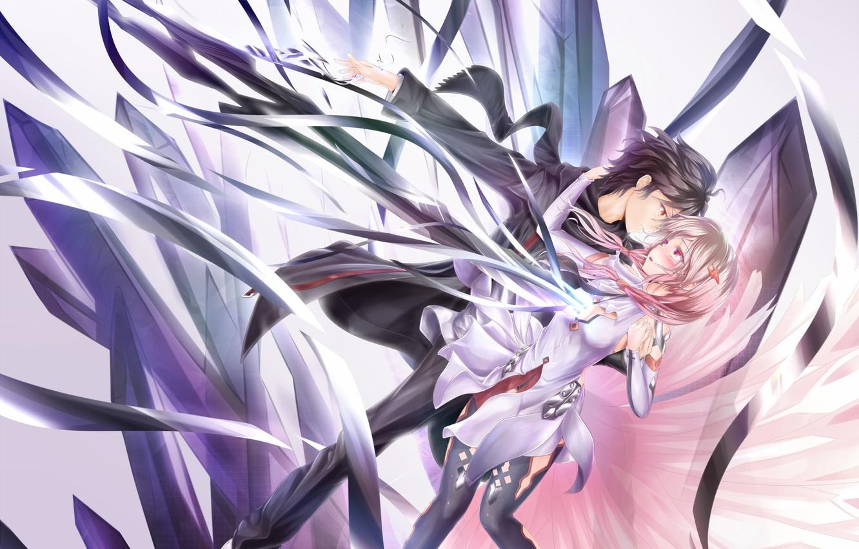 Фото обои девушка, аниме, шарф, арт, объятия, пара, парень, заколка, guilty crown, ouma shu, yuzuriha inori, корона …