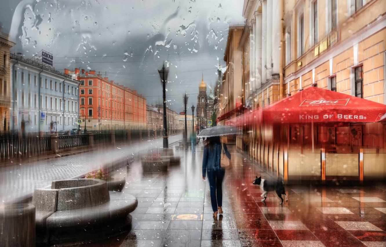Обои зонт, капли, россия, дождь. Города foto 6