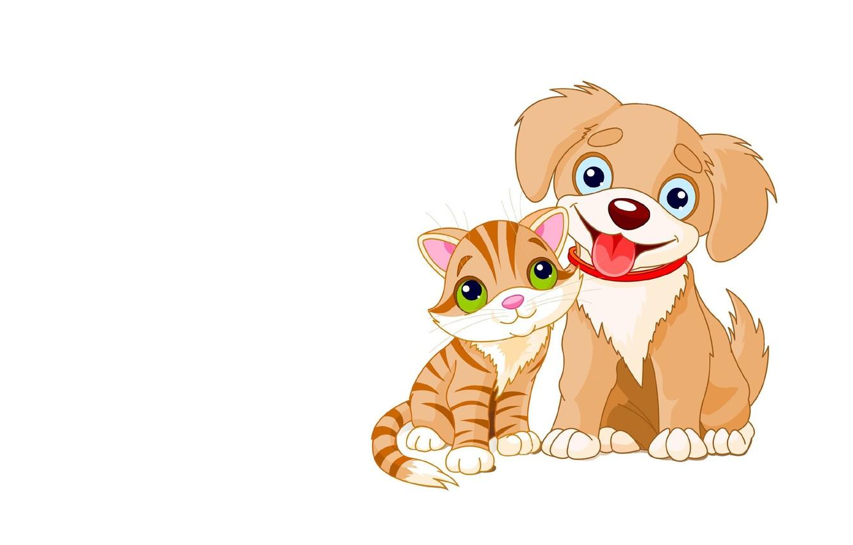 Фото обои настроение, арт, щенок, котёнок, детская