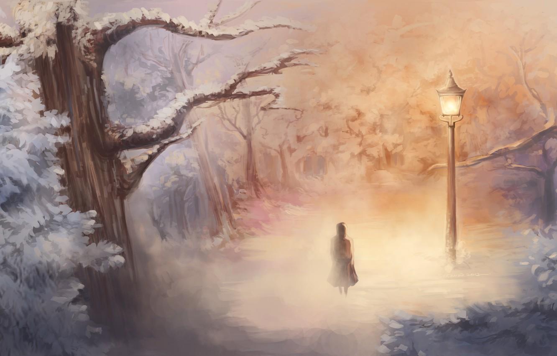 Фото обои зима, арт, девочка, фонарь, Нарния, Narnia
