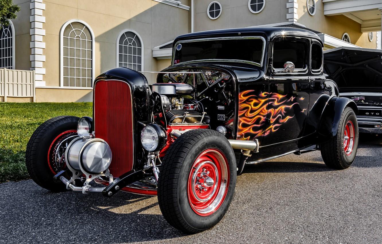 Фото обои ретро, Ford, классика, 1932 Ford 5-Window Coupe