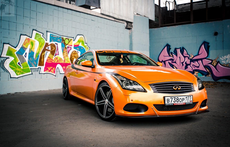 Фото обои Оранжевый, Граффити, Infiniti, Orange, Sedan, G37