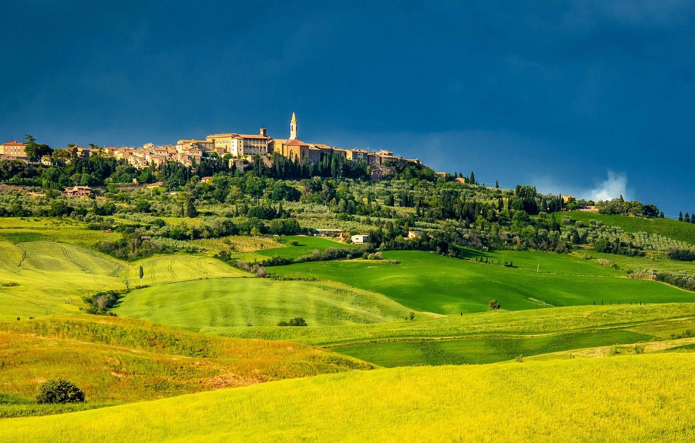 Фото обои поля, простор, Италия, луга, Тоскана, Tuscany