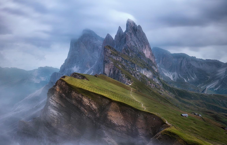 Фото обои горы, туман, скалы, склон, Альпы
