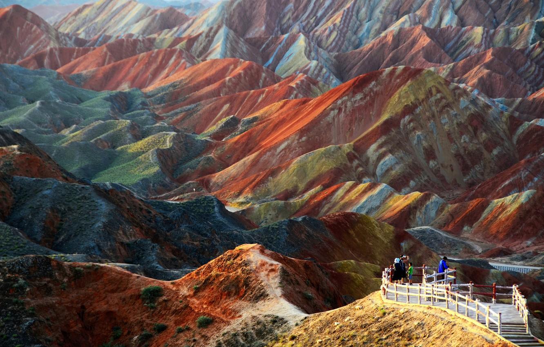 Фото обои пейзаж, горы, природа, Китай, Danxia, Данься, геопарк