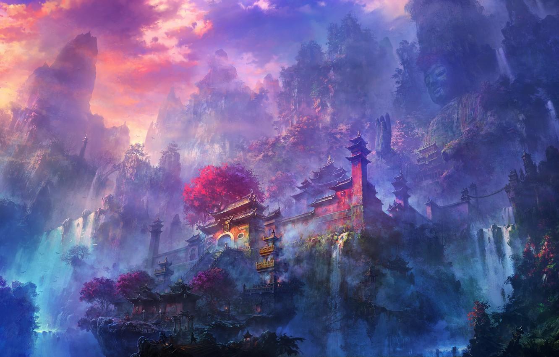Фото обои туман, рассвет, водопад, Горы, храм, статуя