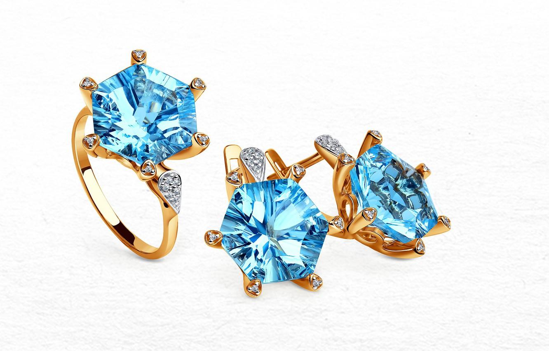 Фото обои золото, кольцо, украшение, сережки, diamond, набор, топаз
