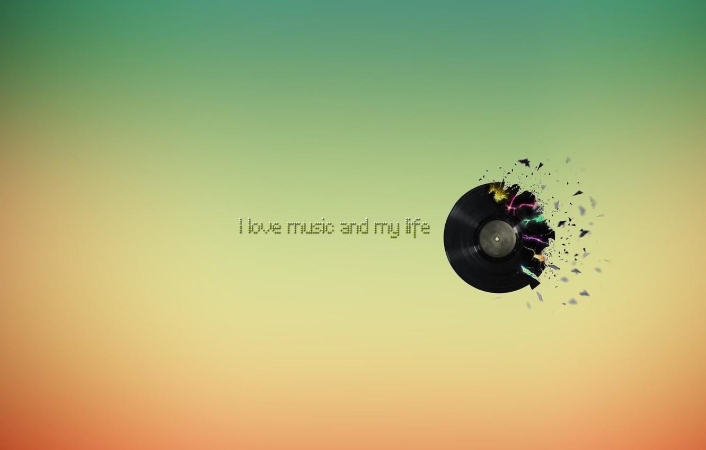 Фото обои цвет, пластинка, I love music and my life