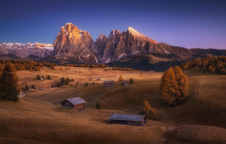 Фото обои Italy, autumn, Dolomites, Alpe di Siusi