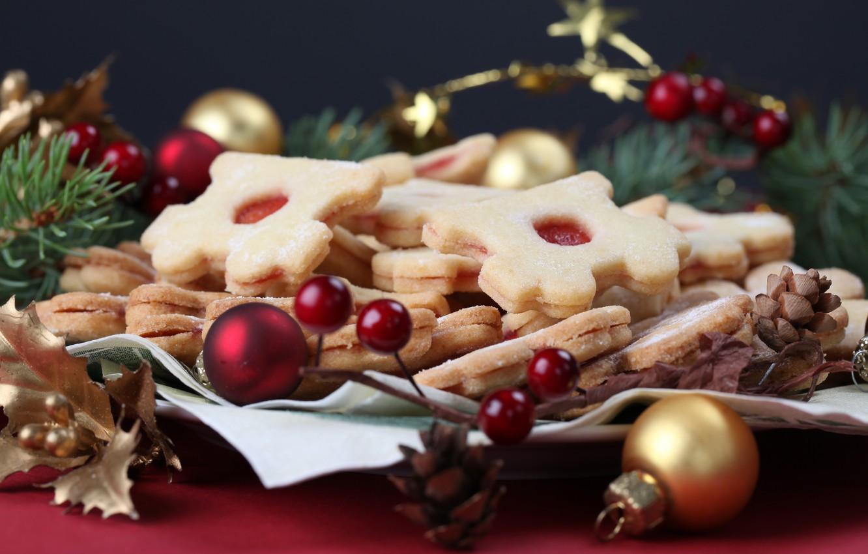 Фото обои шарики, украшения, стол, печенье, десерт, выпечка, новогоднее