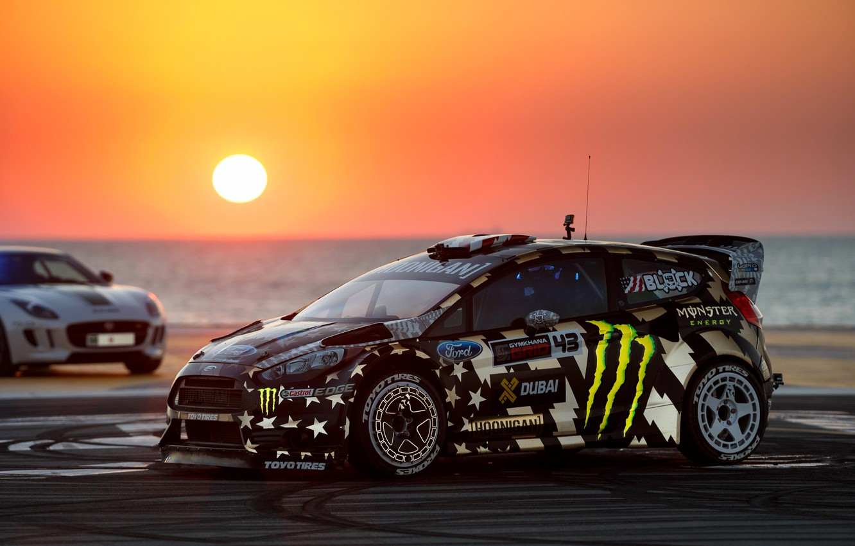Фото обои Ford, Dubai, Sunset, Ken Block, Fiesta, Gymkhana, Eight, RX43