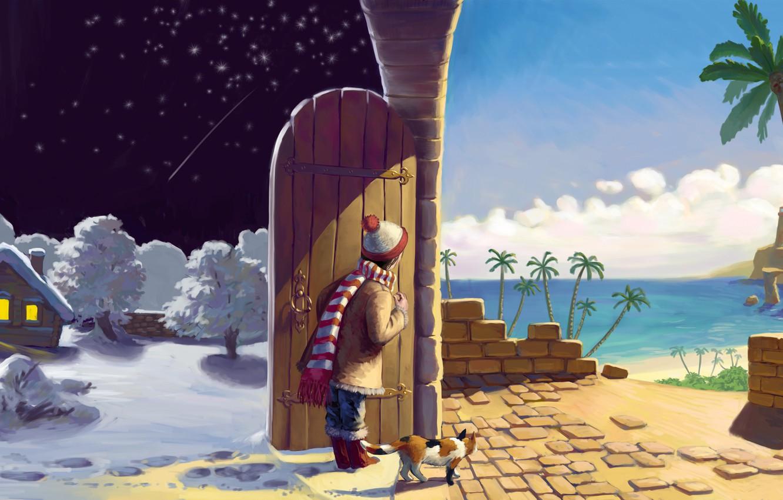 Фото обои зима, песок, море, кошка, лето, кот, звезды, облака, снег, деревья, ночь, огни, дом, пальмы, стена, …