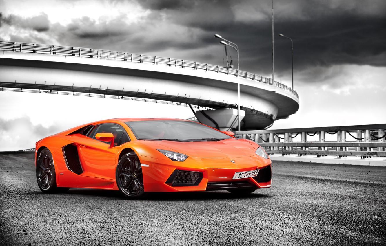 Фото обои машина, Lamborghini, суперкар, orange, LP700-4, Aventador