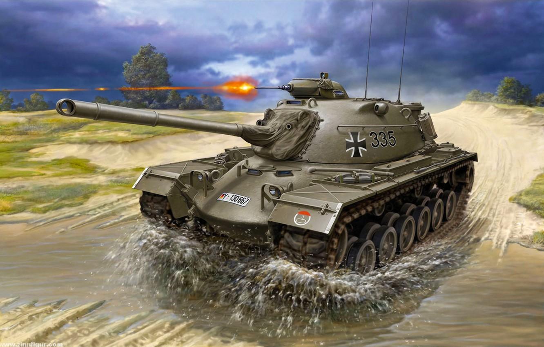 Фото обои war, art, painting, tank, M48 A2/A2C