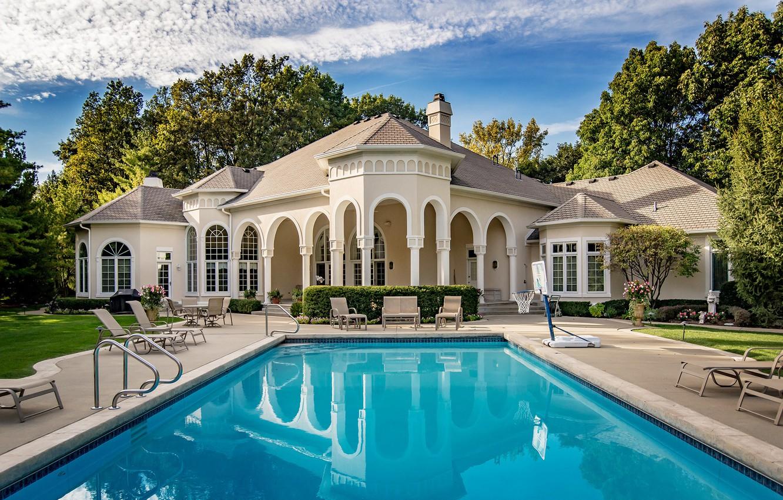 Фото обои вода, дом, стиль, бассейн, архитектура, особняк, роскошь