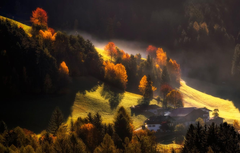 Фото обои осень, свет, горы, природа, дома, дес