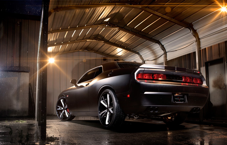 Фото обои Авто, Ночь, Тюнинг, Машины, Dodge, Challenger, Гараж