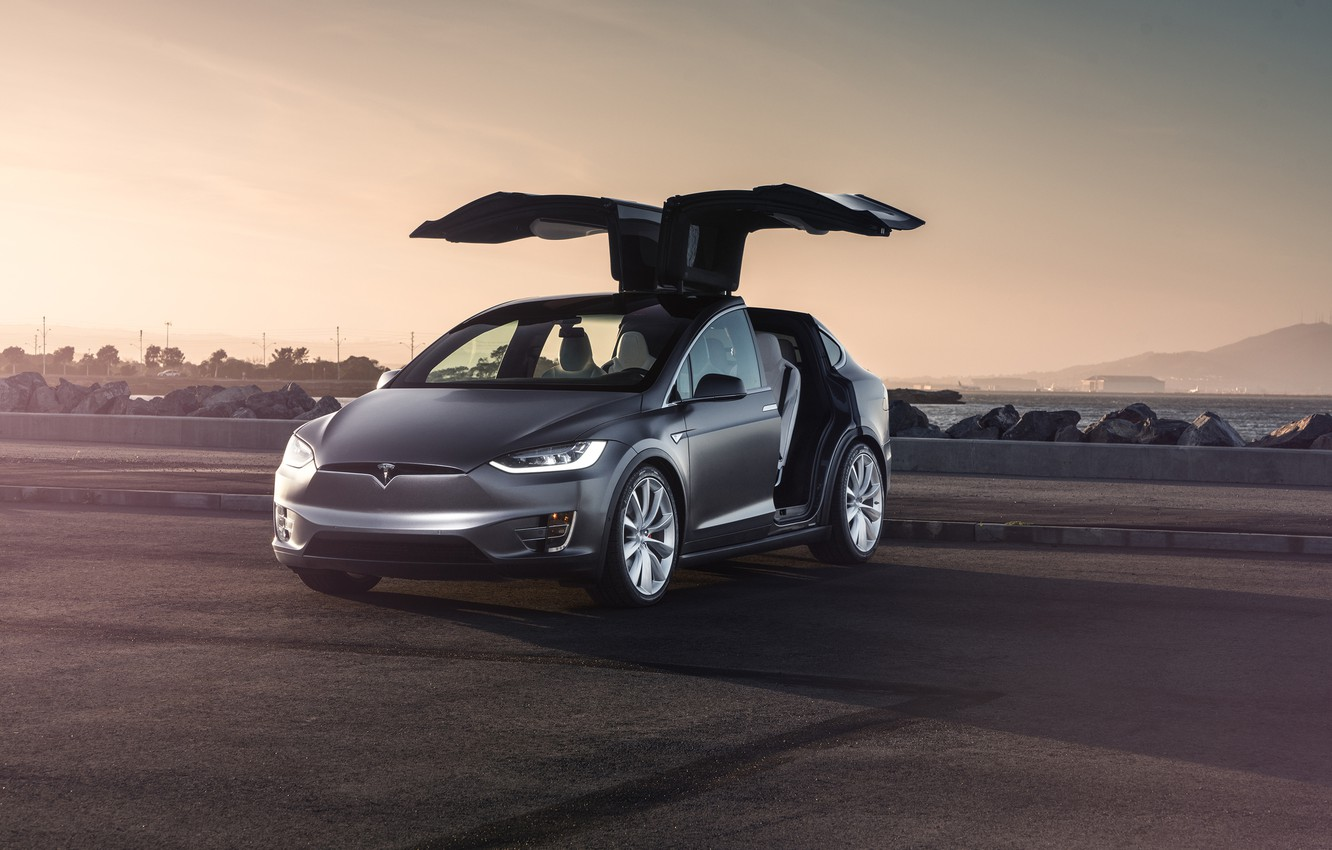 Фото обои Car, Model, Tesla, Electric, Doors, X P90D
