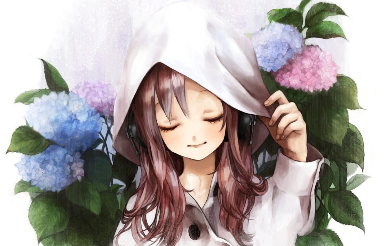 Фото обои цветы, рисунок, наушники, капюшон, девочка, плащ, гортензия
