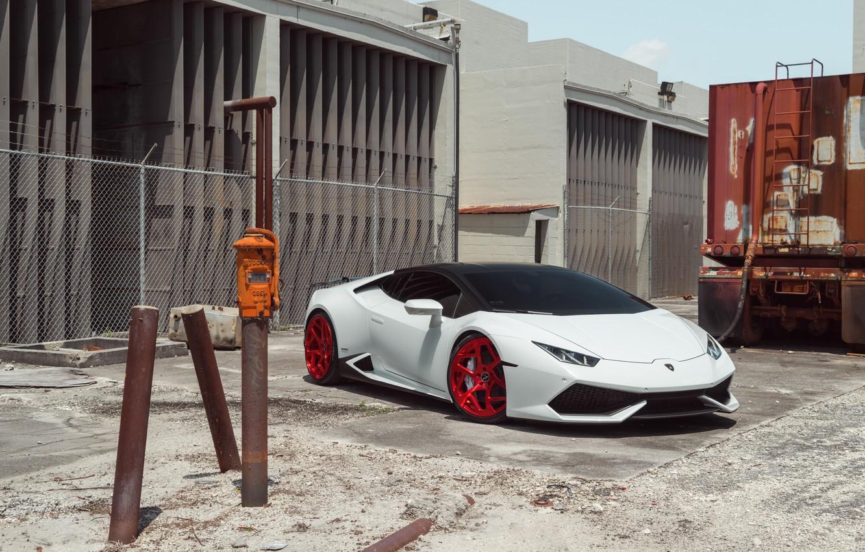 Фото обои Lamborghini, Front, White, Supercar, Huracan, LP610-4, Vellano MC