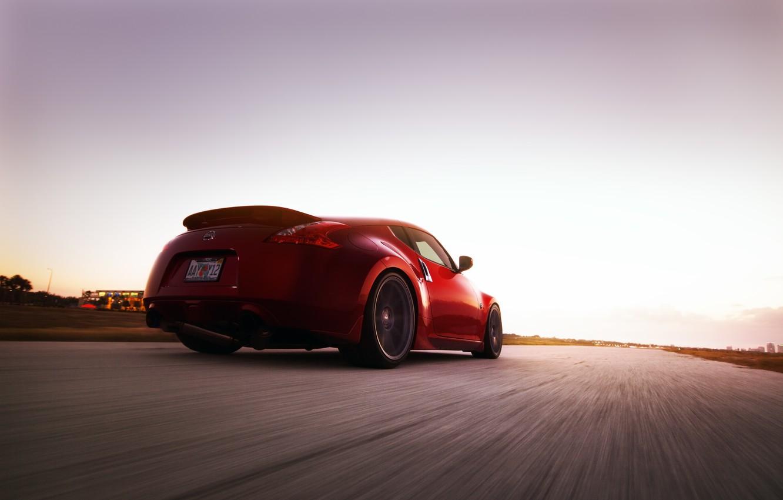Фото обои дорога, авто, скорость, Nissan, 370Z