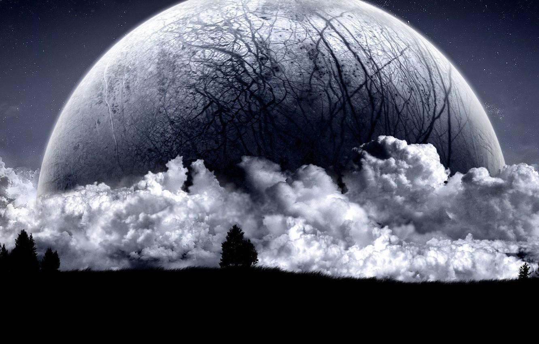 Фото обои облака, замысел, ночь, темные мысли