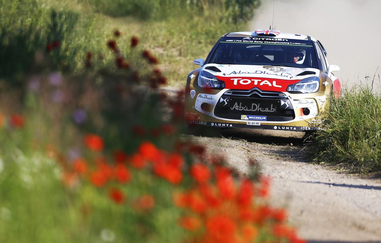 Фото обои Цветы, Спорт, Машина, Ситроен, День, Citroen, Фары, DS3, WRC, Rally, Ралли, Передок, Тотал