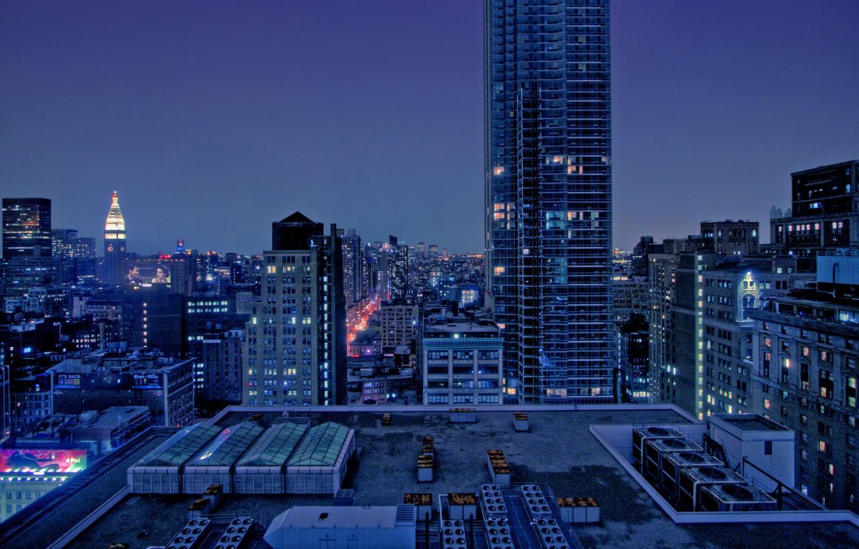 Фото обои пейзаж, ночь, city, город, дома, night, view, builds