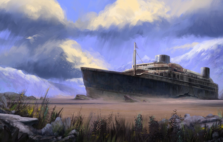 Фото обои тучи, корабль, остов, арт, мель, трещина
