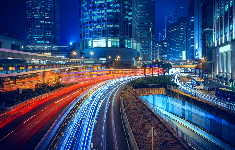 Фото обои ночь, огни, дома, Гонконг, фонари, Китай, автострада, улицы, иллюминация