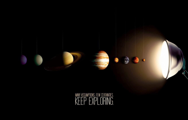 Фото обои лампа, солнечная система, Planets
