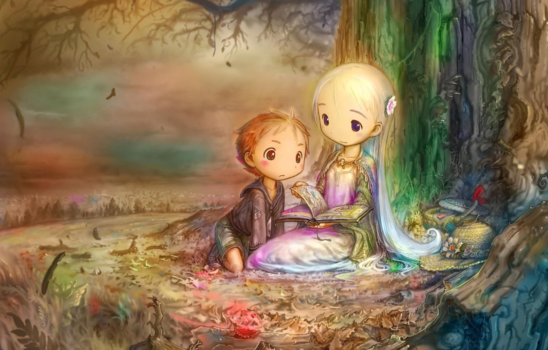 Фото обои Мальчик, Девочка, Сказки