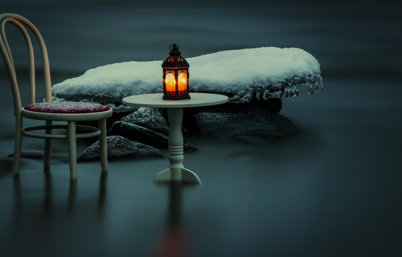 Фото обои снег, ночь, река, стул, фонарь