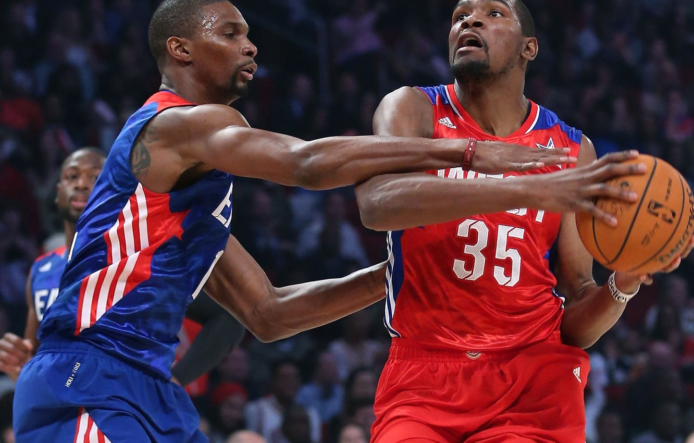 Фото обои игра, мяч, баскетбол, NBA, Kevin Durant, Chris Bosh