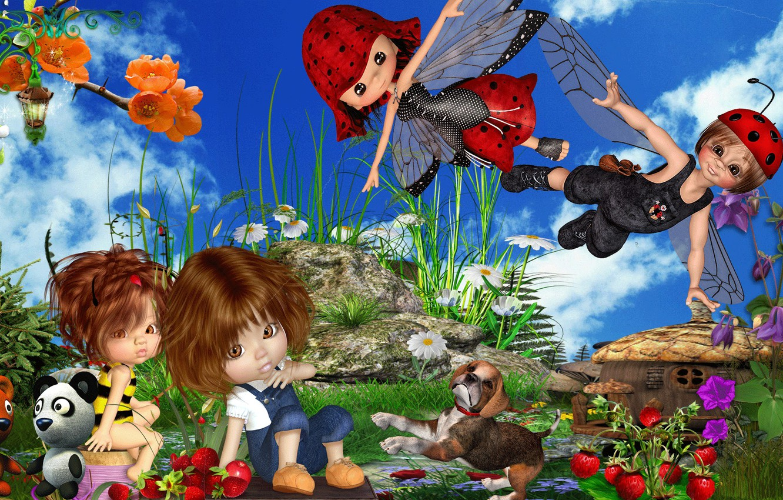 Фото обои дети, кино, игра, сцена, мультфильм, game, Куклы, cartoon, movie, scene, kids, Dolls