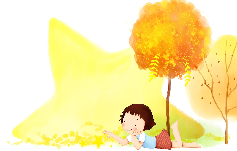Фото обои осень, деревья, улыбка, листва, звезда, девочка, детские обои